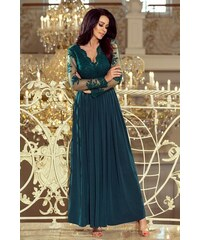 eb5feb26e72 Numoco Dlouhé šaty s vyšívaným výstřihem a dlouhými rukávy zelené