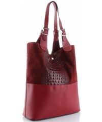 Genuine Leather Kožená kabelka exkluzivní Shopper bag XXL bordová db71ed040b6