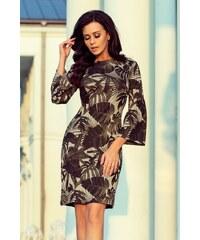 Numoco Svetrové šaty s širokým rukávem khaki listy c2097005d3