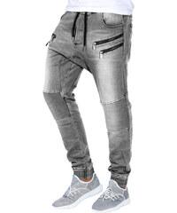 745d0f291b1 Ombre Clothing Pánské šedé kalhoty s nízkým sedem Ray