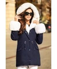 1b08fd067036 MODANOEMI Teplá luxusná zimná modrá bunda s bohatou kožušinou