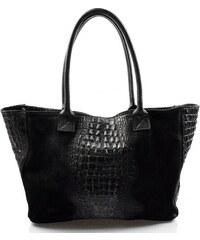fb682530af Kožená veľká krokodílí čierna taška na rameno jeana VERA PELLE