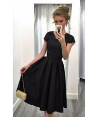 OEM Dámské saténové šaty s krajkou černé cd9d58cf6c