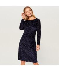 b23c71b3ab2 Mohito - Vypasované šaty z látky devoré - Modrá