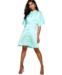 BOOHOO Košilové šaty s knoflíky a zvonovými rukávy aac71625b1