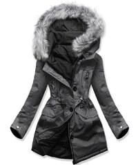 MODOVO Női téli kabát kapucnival B-746 grafitszürke-fekete 1adb6e91d3
