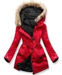 9e15a106d7 MODOVO Női téli kabát kapucnival B-746 piros-fekete