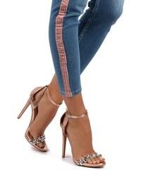 b763b8e285e7 United Fashion Ružovozlaté sandále Chloe