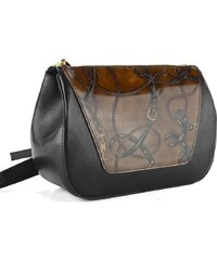 Elega by Dana M. luxusní crossbody kabelka černo hnědá 69356 4a4ce6917db