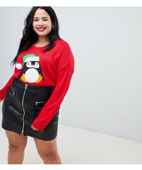 Brave Soul Plus penguin christmas jumper - Red 2c0d02d00c