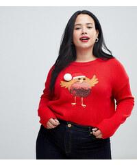 Brave Soul Plus christmas jumper with sequin robin applique - Red e36e8c3629