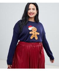 Brave Soul Plus gingerbread christmas jumper - Navy f393fc04b8