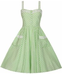 2d6ef4813c09 Lindy Bop Corinna Pastelovo-Zelené Kockované Šaty