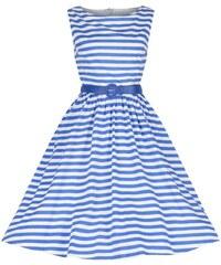 Lindy Bop Audrey Modré Prúžkované Šaty 30a0e9b980e
