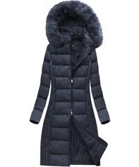 Jejmoda Dámska dlhá zimná bunda MODA753 modrá 8c5209a05e2