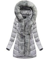 Jejmoda Dámska zimná bunda s kožušinou MODA749BIG šedá ee0413b507c