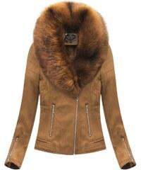 2149cb5ef6cd Jejmoda Dámska zimná zamatová bunda s kožušinou 6502 hnedá