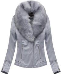 6b85e47c96de Jejmoda Dámska zimná zamatová bunda s kožušinou 6502 šedá