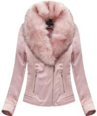 Jejmoda Dámska zamatová zimná bunda 6502BIG ružová f0bfa4a239