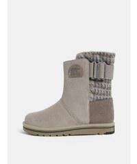 0ef379e628f6 Sivé dámske semišové zimné topánky SOREL Newbie