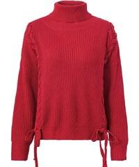 Perfect Svetr pulovr propletený s mašlí a boční krajkou 152727a98f