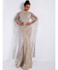 Perfect Společenské Maxi Třpytivé Sexy šaty s vysokým krkem b4a175cdcb4