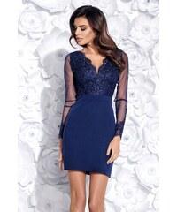5961a9b4660 Getthelook Granátové pouzdrové šaty s krajkovým dekoltem