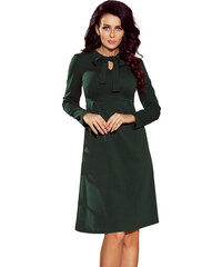 Numoco Elegantní šaty s mašlí u krku - zelené c16a36c067