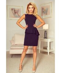 a91716d79bb3 Numoco Elegantné šaty s asymetrickým volánom - tmavomodré