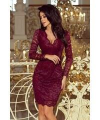 Numoco Čipkované šaty 170-5 - bordové 74fbd2ed49c