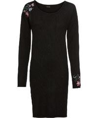 Bonprix Pletené šaty s vyšívkou 00e31a83807