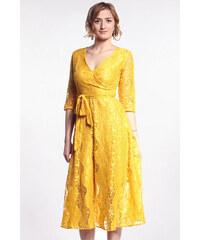 iné Žlté čipkované midi šaty 08072951205