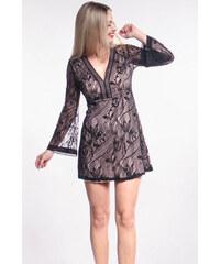 iné Čierne čipkované šaty so zvonovými rukávmi 906079abd2b