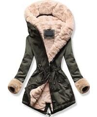 MODOVO Dámska zimná bunda s kapucňou 5513B khaki-béžová 0ae1ab88c98