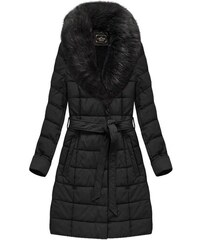 defca90975 Libland Černý dámský kabát z ekokůže (5527)