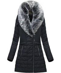 33d6b4b45b Libland Černý dámský koženkový kabát(LD5520)