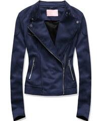 Semišová dámská bunda modrá 36552f61422
