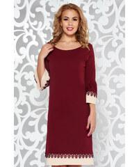42614e22ed StarShinerS Burgundy elegáns bő szabású ruha csipke díszítéssel fodrozott  ujjakkal