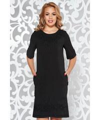 570a6d3527 Fekete StarShinerS elegáns zsebes egyenes ruha hímzett betétekkel enyhén  rugalmas anyag