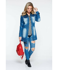 f5e1f6f56c StarShinerS Kék Ocassion casual dzseki farmerarnyagból műszőrme berakások