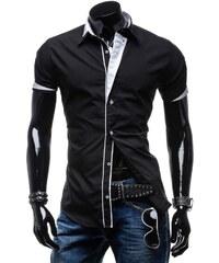 21e32d6f230 Černá pánská elegantní košile s krátkým rukávem Bolf 4715