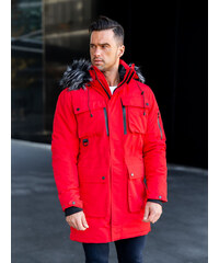 MODANOEMI by escoli Pánska červená zimná bunda parka s kapucňou a  sivou-čiernou kožušinou 17628dd6fd0