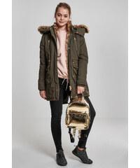 Urban CLASSICS Dámska zimná bunda s kožušinou Ladies Imitation Fur Parka  olivová 1fb8f335255