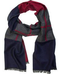 Avantgard Modro-šedá pánská šála s červenými pruhy 287e9fef65