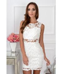 f41726facc48 PLANETA-MODY Elegantné čipkované krémové šaty CO-30163