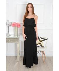 PLANETA-MODY Priliehavé dlhé šaty s volánom CO-35101 čierne 9b3f1a2e053