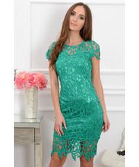 dce8791ef9ef PLANETA-MODY Elegantné midi šaty Sattin CO-37342 zelená krajka