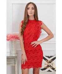 7d08b28724c8 PLANETA-MODY Červené krajkované šaty Kendal CO-38667