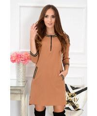 c39172bbf403 La blanche Trendy šaty so zipsom Sara CO-40570 camel