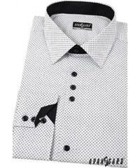 8ad0366103ff Biela pánska košeľa SLIM s čiernymi doplnkami - dlhý rukáv Avantgard  125-0166-33
